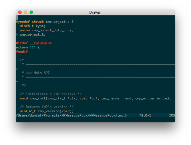 DinVim code editor screenshot
